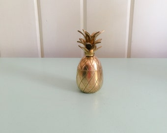 "3.5"" very petite brass pineapple container"