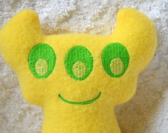 Handmade Stuffed yellow Horned Monster - Fleece, Child Friendly machine washable softie plush
