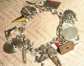 Vintage Sterling Silver Charm Bracelet 16 Charms Some Moveable Wells Nice!