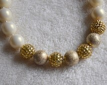 Gold and Ivory Color Blocked Chunky Bubblegum Bead Necklace Girls Photoprop