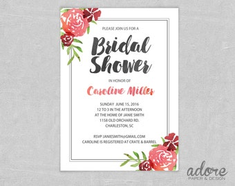 Watercolor Floral Bridal or Baby Shower Invitation - Printable Digital File.