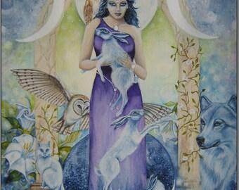 "Hare Print, Moon  "" Moon Goddess"""