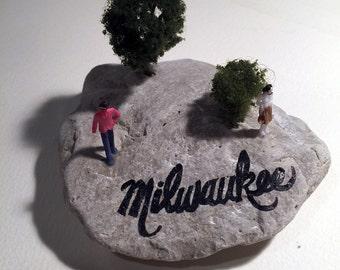 Handpainted rock souvenir from Milwaukee, Wisconsin