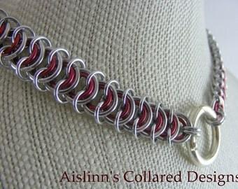 Red and Silver Vertebrae BDSM Gorean Slave Collar Choker Necklace