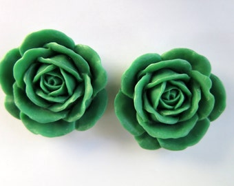 2PCS - 38mm Large Green Rose Cabochons - Matte - Resin Cabochons - Jewelry Supplies by Zardenia - Ships from US
