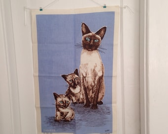 Vintage Irish Linen Towel, Vintage Ulster Linen Towel, Siamese Cats, Cat Towels, Siamese Cat Linen Towel, Decorative Linen Towel