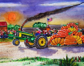 Giant Pumpkin Pulling with an Antique John Deere Tractor at the Country Fair Art Print
