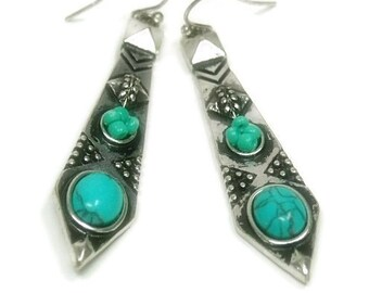 Turquoise Dangle Earrings - Tribal Earrings with Turquoise Cabs - Textured Silver Dangle Earrings - Southwest - Boho - Turquoise Jewelr