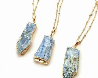 Gold dipped kyanite necklaces//raw blue kyanite slab//natural stone jewelry//raw gemstone//gold necklace//