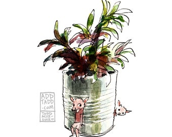 Hide and Seek -- Lamb Kids Play -- Potted Plant -- Digital Watercolor Print -- Fun Family Art