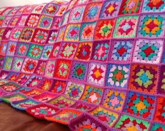 VIOLET Granny Squares Crochet Afghan Blanket Bright Vivid