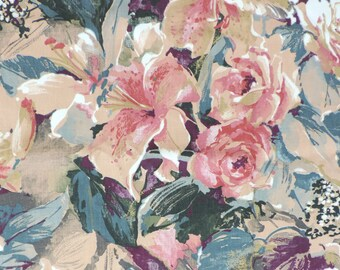 Floral Cotton Fabric Lily Rose 49 x 56