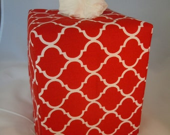 Ready To Ship -  Red and White Quatrefoil -  Fabric Tissue Box Cover
