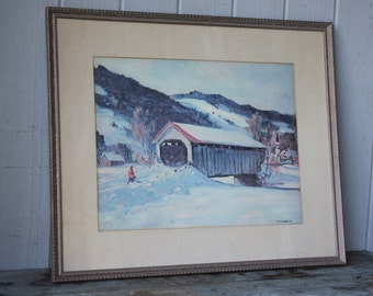 Charming Vintage Watercolor Painting Covered Bridge in a Snowy Landscape Signed A R Herrick