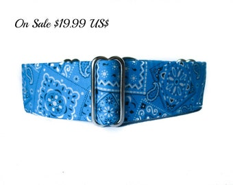 Blue Martingale Dog Collar, 1.5 Inch Martingale Collar, Bandana Dog Collar, Whippet Collar, Blue Dog Collar, Preppy, Greyhound Collar