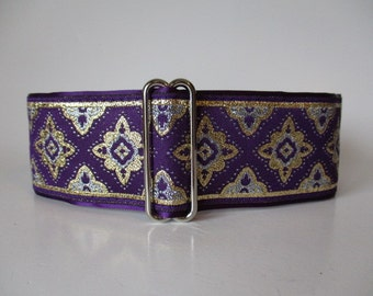 2 inch Martingale Collar, Purple Martingale Collar, Purple Jacquard, Greyhound Collar, Jacquard Dog Collar, Wide Dog Collar