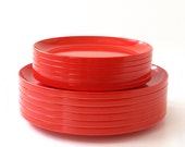Vintage Ingrid Stackable Plates in Red