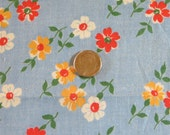 Vintage Feedsack Fabric-Feed sack-Blue Floral-Fat Quarter