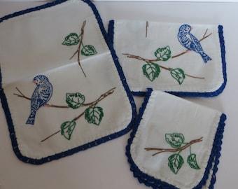 Vintage Runner-Embroidered-Vanity-Dresser Set-Shabby Cottage Chic-Bluebirds-3 piece Set