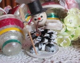 Vintage Spun Cotton Pinecone Snowman
