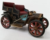 Vintage Lever Action Painted Tin Toy Car Antique Model T Litho Tin Lizzy
