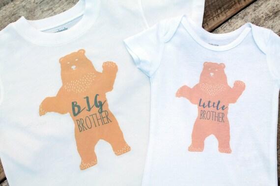 Matching Siblings Onesies Shirt Set, Big Brother Little Brother Clothing, Big Bear Little Bear Onesies Shirt Set, Sibling Clothing, Shirts