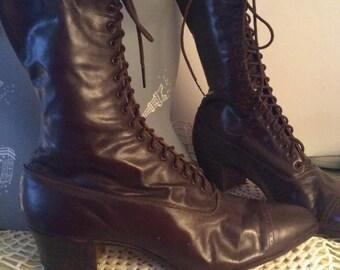 Victorian Edwardian High Top Brown Leather Tie Boots HONORBILT Milwaukee Mayer Custom Made