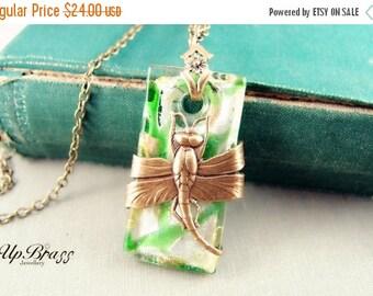 Athena--Italy Venetian Murano style glass vintage brass art nouveau dragonfly necklace