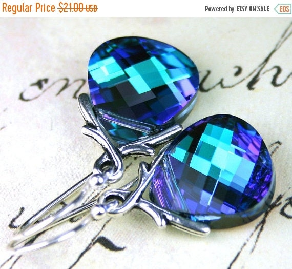 ON SALE Aqua And Purple Briolette Earrings - Swarovski Crystal And Sterling Silver Earwires - Ivy Vine Bails and Flat Briolettes