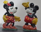 Vintage - Mickey and Minnie Mouse - Painted Lead - Figures - c1960s