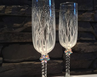 Winter Wedding Toasting Flutes, crystal brooches, personalized, engraved and hand painted,