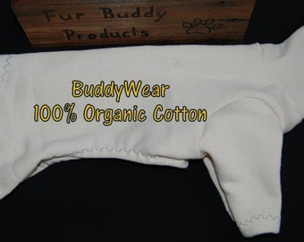 """14.5"""" BuddyWear 100% Organic Cotton fleece suit Ready To Ship for Italian Greyhounds, Hairless Terriers, Cresteds and all small dogs"""