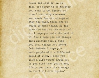 VINTAGE TYPEWRITER PRINT Quote - F. Scott Fitzgerald - Benjamin Button - For what it's worth - Printable Wall Art Instant Download-