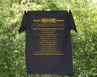 Political // Conservative Warning Label Political Jumbo Print Shirt