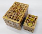 Japanese Puzzle box (Himitsu bako) The Nested box 3.0inch 10 steps 1.7inch 10 steps Yosegi