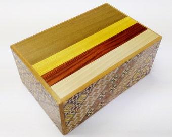 Japanese Puzzle box (Himitsu bako)-5sun(150mm.6.0inch) 7 steps Natural wood / Yosegi