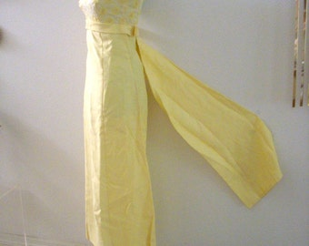Vintage 50s 60s Yellow Evening Dress with Swag - Pale Yellow Maxi Dress - Cocktail Party Dress - Vintage Prom Dress - Size X Small 0 to 2