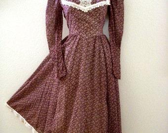 Vintage GUNNE SAX Midi Dress - Brown Boho Chic 70s Dress - 1970s Brown Cotton Voile Boho Hippie Dress - Size Small 7