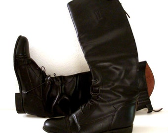 Vintage Black Leather Field Boots - Black English Riding Boots - Equestrian Lace Up Boots - Knee High Black Riding Boots - Size 9.5