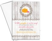 Little pumpkin baby shower invitations | fall baby shower invites girl | printable or printed - WLP00719