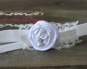 stark white baby headband, Newborn photography prop, petite vintage rosette on lace, newborn headband, vintage headband, ivory headband