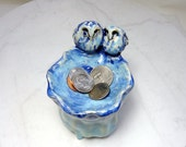 Barred Owl Ring Holder - Teabag Rest with Owls - Royal Blue Trinket Holder - Pottery Owls - Hand Built Pottery - Forest Animals - Blue Owls