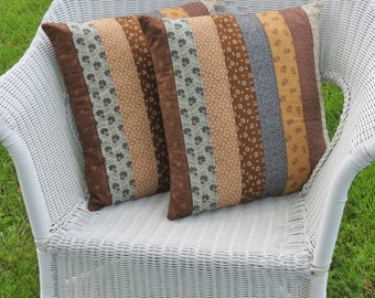 Blueberry Mocha Quilted Pillow Covers - Set of 2