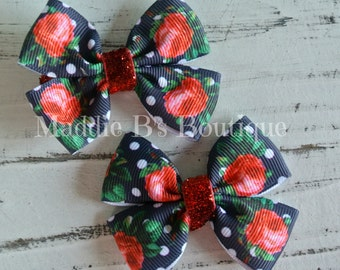 Navy blue Polka dot Hair bow-Vintage flower bows-red roses-glitter bows-Maddie B's Boutique on Etsy