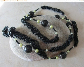 SALE Black Beaded Necklace, Vintage Beads, Long Bead Necklace