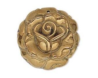 Pyrite Antique Copper Pendant 28mm Carved Flower Rose Natural Gemstone Bead