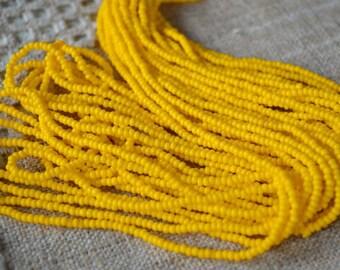 11/0 Hank Seed Opaque Yellow Bead Preciosa Czech Glass Seed Beads