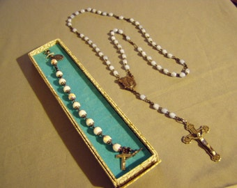 Vintage Sterling Silver Faceted Glass Bead Catholic Rosary Bracelet & Glass Bead Rosary Fold Out Center 8418
