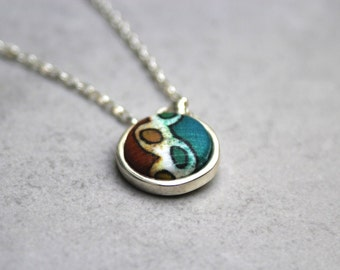 Textile jewelry, Fabric button necklace, Textile jewelry, Minimal necklace, Drop necklace, Sterling necklace, Dainty necklace