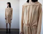 Vintage SILK Dress with Draped Collar Hood in Marigold Minimal 90s Minimalist M-L